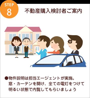 step8 不動産購入検討者ご案内/●物件説明は担当エージェントが実施。窓・カーテンを開け、全ての電灯をつけて明るい状態で内覧してもらいましょう